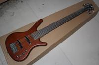 ingrosso chitarra naturale di qualità-Custom Factory Top Quality W k marrone naturale 6 corde basso elettrico con batteria 9V pickup attivi
