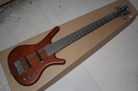 Wholesale red brown guitar resale online - Factory custom Top Quality W k natural wood brown String electric Bass Guitar with V Battery active pickups