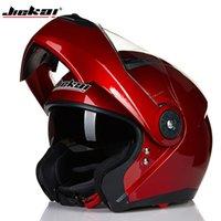 ingrosso caschi moto aperti-2016 New JIEKAI JK115 undrape face Casco moto viso aperto caschi moto imitazione fibra di carbonio grigio colore taglia M L XL