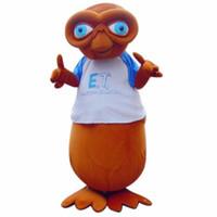 personagem fantasia venda por atacado-Profissional personalizado E.T. Estrangeiro legal traje da mascote monstro dos desenhos animados caráter roupas festival de Halloween do partido do vestido extravagante