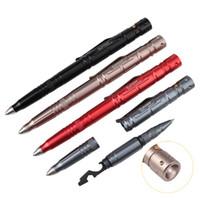 taktischer stift geführt großhandel-Mehrzweck-Selbstverteidigungs-taktisches Stift-EDC-Werkzeug mit Wolframstahl-Glasbrecher- / Messer-Blatt-LED-Taschenlampe / 2 Nachfüllung 3Batteries