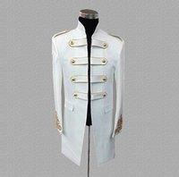 dança trajes jaqueta venda por atacado-Palácio blazer ternos dos homens projetos jaqueta mens trajes de palco para cantores roupas dance star estilo vestido de punk rock preto branco