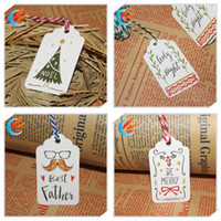 Wholesale string gift label for sale - Group buy Merry Christmas DIY Gift Paper Tag Cartoon Printed Wishing Cards Optional String Hanging Craft Label Of Party Supplies nw E1