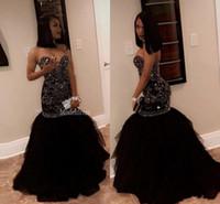 vestidos de noite de renda até sereia venda por atacado-Cristal Brilhante Beading Sereia Vestidos de Baile 2019 Querida Lace Up Trompete Longo Africano Meninas Negras Vestidos de Festa À Noite Vestidos