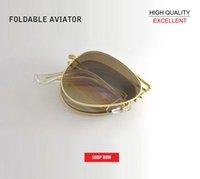 óculos de sol masculinos venda por atacado-Nova alta qualidade Dobrável Aviação Óculos de Sol do Homem de Metal dobrável óculos de Sol UV400 Clássico Óculos 3479 Piloto Condução Óculos de Sol gafas