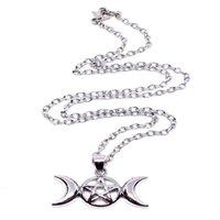 wiccan schmuck halsketten großhandel-Triple Moon Wiccan Pentacle Halskette Anhänger Vintage Silber Legierung Gothic Collares Aussage Halskette Frauen Modeschmuck Moonlight Göttin