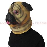 забавная животная маска для лица оптовых-Pug SharPei Dog Head Mask Latex Adult Full Face Mask Halloween Masque Fancy Dress Party Cosplay Funny Animal 5pcs