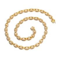 cadena en forma de al por mayor-9 MM de los hombres de Hip Hop Esposas Forma Cadena de Tenis Collares de Lujo Colorido lleno de Circón Granos de Café Cadenas de Joyería