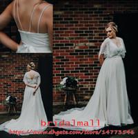 Wholesale tulle bolero wedding dress resale online - Vintage Plus Size Lace Bolero Bohemian Garden Wedding Dresses With Sash Spaghetti Beach Boho Bridal Gowns Simple Country Wedding Dress