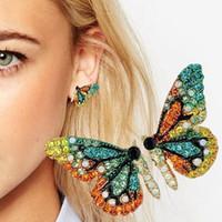 accesorios de mariposas joyas al por mayor-Moda mariposa ala pendientes collar horquilla diamante moda ropa accesorios pendientes moda niñas joyería conjunto accesorios