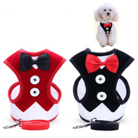 Wholesale New Small Dog Evening Dress Bowknot Waistcoat Harness Leashes Set Walking Dog Pet Supplies Drop Ship