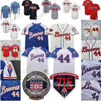 parches para jerseys al por mayor-2019 Atlanta Hank Aaron Jersey Braves 715 HR patch Salón de la fama Milwaukee 1974 Brewers 1973 Cream White Blue Pullover Red Mesh Hombres Mujeres