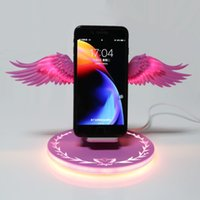 Wholesale wireless charger online – White pink blue black four colors W LED Qi Wireless Charger Dock W Angel Wings Fast Charger Stand for Mobile Phone X6HA