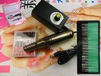 preço unha elétrico venda por atacado-Strong 26000RPM Portátil Elétrica unhas broca máquina Nail Art broca Pen Grooming set diamante cortador Gel removedor de lixa BITS arquivo 110-240V