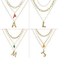 Wholesale white stone long chain resale online - DIY Letter Big Alphabet Name Initial Pendant Necklace Women Gold Color Natural Pearl Stone Chain Fashion Long Boho