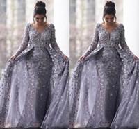 denizkızı islami gece elbiseleri toptan satış-Suudi Arapça Gri Müslüman Abiye 2020 Mermaid V Yaka Uzun Kollu Tül Dantel İslam Dubai Uzun Örgün Akşam elbise