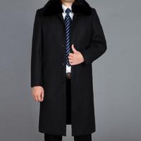 Nice Tide Fur Thick Warm Winter Coats Fashion Coat Blend Mens Peacoat Men Wool Overcoat Winter Wool Long Coat Real M-4XL