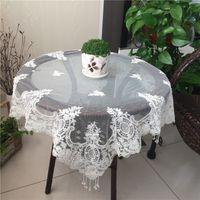 mesas redondas dos corredores venda por atacado-Toalha de mesa pastoral da tela do corredor elegante redondo da tabela do bordado da toalha de mesa, tampa luxuosa da esteira de tabela para a decoração