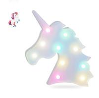 ingrosso lampade animali per bambini-Unicorn Party Marquee Lettera Animali da letto per bambini Lampada da tavolo Decorazione della parete Led Night Light Q190611