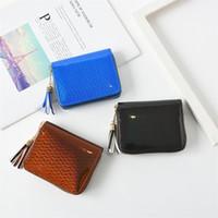 Wholesale hand bag wallet purse for sale - Group buy Female Laser Tassels Wallet Short Paragraph Hand Bag Bright Leather Purse Zipper Red Coffee Color Portable Creative dg C1