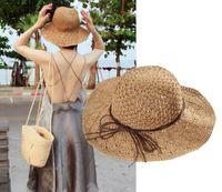 kap hawaii toptan satış-Hawaii Hasır Şapka Hawaii Yaz Plaj Şapka Bayan Hasır Şapka Bej Ilmek Up Güneş Şapka Kadın Patchwork Rahat Zarif Kova Caps