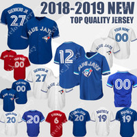 jay azul venda por atacado-personalizado 27 Vladimir Guerrero Jr. Toronto azul 12 Roberto Alomar Jays 20 Josh Donaldson 6 Marcus Stroman Mens base de basebol jerseys