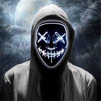 cadılar bayramı rave partisi toptan satış-LED Scary Halloween Maskeler Festivali Parti Partiler Kostüm Soğuk Işık JK1909 için korkutucu Light Up Cosplay Rave Maskesi Glow