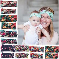 Wholesale knot turban resale online - Girl Baby Parent child Floral Printing Turban Twist Headband Head Wrap Twisted Knot Soft Hair Band Headbands Headwrap style RRA2220