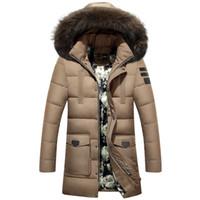 fe13b9ed6754 Mens Winter parka fur hood Coats fashion Black Down Jackets Outwear Men  parkas Thick Faux Fur Inner Parkas S-4XL