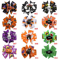 Wholesale flower girls white hair clips resale online - 3 quot Pumpkin Printed Ribbon Hairbows Girls Halloween Dance Party Hair Clip Kids Hairgirps Barrettes Hair Accessories