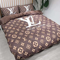 yatak odası tasarımcıları toptan satış-Rahat Markalı Kadın Mektup Baskı Yorgan Tasarımcı Erkekler Yatak Odası% 100% Pamuk Ev Yatak Takımları Yorgan Cover200 * 230 CM Yaprak ...