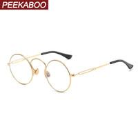 marcos de gafas unisex de metal redondo al por mayor-Peekaboo retro gafas redondas para mujer marco de metal dorado hombres anteojos accesorios de decoración unisex vintage