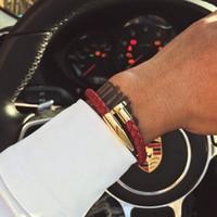 leder handgefertigte charme armband großhandel-Nagel armband männer / charme / leder / edelstahl / luxus / männer armband charme gold nagel handgefertigt männer schmuck gold armbandarmband