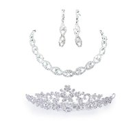 Wholesale floral veil bridal for sale - Group buy Bridal Wedding Crystal Necklace Earring Set Floral Crown Headband Bridal Veil Tiara