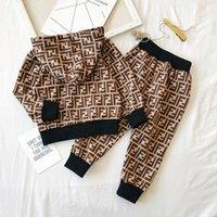 çocuklar için bezler toptan satış-Marka Çocuklar Hoodie ve Pantolon 2 Parça Set FF Mektup Uzun Kollu Giyim Seti Erkek Kız Sonbahar Eşofman Tasarımcı Kıyafetler Spor Bez C72704