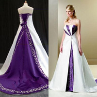 Wholesale 2020 White and purple Embroidery Wedding Dresses Country Rustic Bridal Gowns Unique Plus Size Wedding Gown Sweep Train