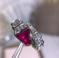 cor da china pedra preciosa venda por atacado-Designer SERPENTI anel de jóias de prata esterlina 925 ouro em forma de diamante gemstone anel de cobra de abertura anel de noivado de luxo mulher 2 cor
