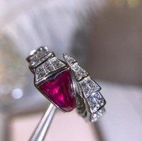 925 china diamond ring großhandel-Designer SERPENTI Ring Schmuck 925 Sterling Silber Gold Diamant geformt Edelstein Öffnung Schlange Ring Frau Luxus Verlobungsring 2 Farbe