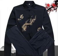 kung fu blanco negro al por mayor-Adultos Vintage chino artes marciales Wing Chun traje Tai Chi artes marciales conjunto de ropa negro rojo blanco azul Kung Fu uniforme