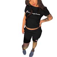 jogging roupas para mulheres venda por atacado-Carta dos Campeões de Impressão Mulheres Treino de Manga Curta T-shirt Top + Calças Curtas 2 pc Roupa Definir Roupa de Verão Shorts Jogging Sports Suit B3043