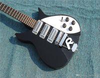 e-gitarre schwarzer tremolo großhandel-Freies Verschiffen RIC John Lennon 325 kurze Skala-Länge 527mm Jetglo 6 Schnur-schwarzes E-Gitarren-Bigs Tremolo Glanz-Farben-Griffbrett, 3 Toa