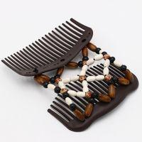 accesorios de madera vintage al por mayor-Accesorios para el cabello de la vendimia mágica mariposa de madera perlas de clip de pelo estiramiento doble diapositiva peine para las mujeres moda sombreros
