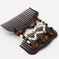 holz vintage zubehör großhandel-Vintage Haarschmuck Magic Butterfly Holz Haarspange Perlen Stretch Double Slide Kamm Für Frauen Mode Headwear