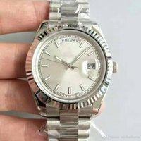 белые часы для мужчин оптовых-Новые Мужские Часы Sweep White Face Автоматическое движение Механические Алмазы Дата Серебро Stainess Сталь Сапфир Оригинальная застежка Мужские часы
