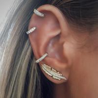 ingrosso gli orecchini del polsino dell'involucro dell'orecchio-Orecchini a forma di foglia di Boemia Orecchini Cerchio di colore dorato Cuffia di cristallo a forma di orecchio Donne Orecchini di cartilagine Wrap Ear Orecchini di orecchio