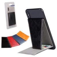 Wholesale cell phone functions for sale - Group buy Multi function Phone Holder Back Stickers PU Leather Cell Phone Stick Universal Card Holder for iPhone XS XR Plus Samsung S8 S9