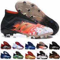 crampons à glissement de chaussures achat en gros de-2018 New Predator 18 FG PP Paul Pogba Crampons De Football Slip-On Chaussures De Bottes De Football Pour Hommes Predator 18+ Chaussures De Soccer