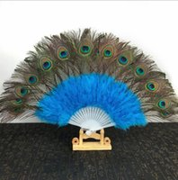 Wholesale wedding invitations maker resale online - New Peacock Feather Fans Wedding Bridal Gift Carnival dance fans Party favors colors available