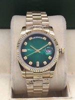 18 herren-diamant-uhr großhandel-Neue hochwertige Luxus 18 Karat Gold Herrenuhr 36 mm Edelstahl DAY DATE Automatische mechanische Uhren DateJust Desinger Diamant Armbanduhr