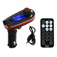 Wholesale sp audio for sale - Group buy Bluetooth Car Kit AUX MP3 Audio Player FM Transmitter Modulator Auto Remote Control LCD Dual USB Car charger SP TF Card Play